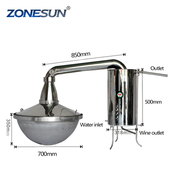 ZONESUN 90L home portable vodka alcohol polyvinyl distillation equipment