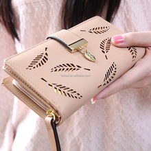 Multifunctional Zipper Buckle Lady Wallet Long Section Hollow Leaves Fashion PU Leather Wallet
