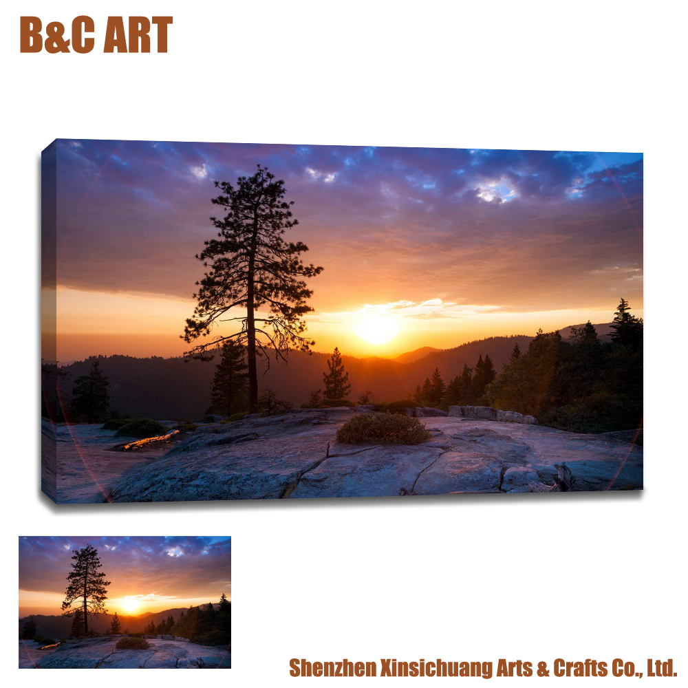 Fine Art Printing Service Sunset Scenery Canvas Photo Prints Modern Home Decor