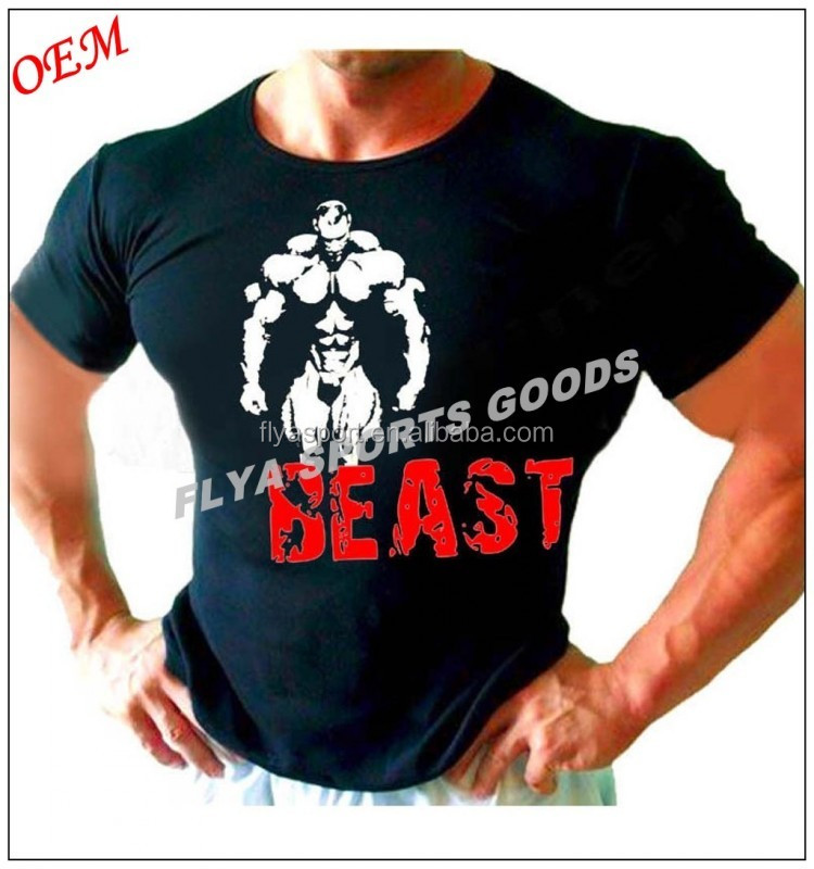 custom the high quality plain bodybuilding t-shirts for men
