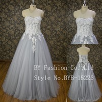 Couture designer wedding gowns elegant grey lace appliqued ball gown wedding dress