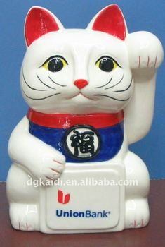 plastic fortune cat coin bank