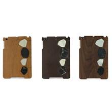 Real natural wood phone case PU +PC wooden cover marble sticker design back case for iPad mini2