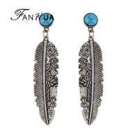 Antique Style Metal Feather Big Dangle Earrings