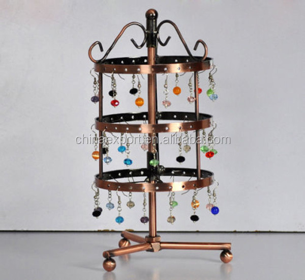 Copper Jewelry Display Stand Holder Revolving Shelf for Earrings