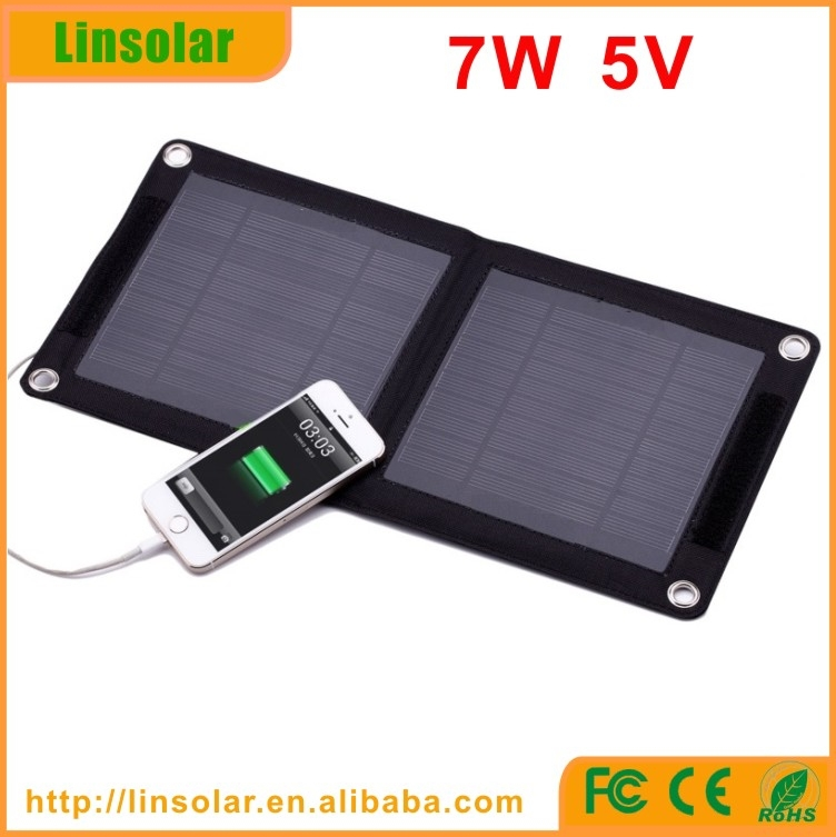 Portable 7W Travel Solar Panel USB Charger Pack for Cell Phone MP3 MP4