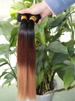 Natural looks virgin ombre Malaysian hair sell best colored 1b/4#/27# color 3 tone hair weave