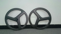 Brand New 3k Matt Finish Full Carbon Fiber 700C Road Bike/TT Tubular 3 Spoke Wheelset
