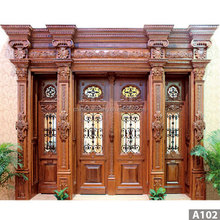 luxurious wholesale price exterior double swing oak security wood doors