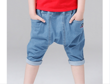 2017 summer new stylish Hip Hop Elastic waist Blue Denim Boys Jeans shorts