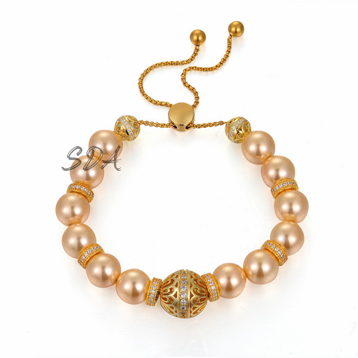 Glass Pearl Bracelet Pearl Charm Bracelet CZ Diamond Charms Gold Filled Brass Beads Lady Hand Jewelry