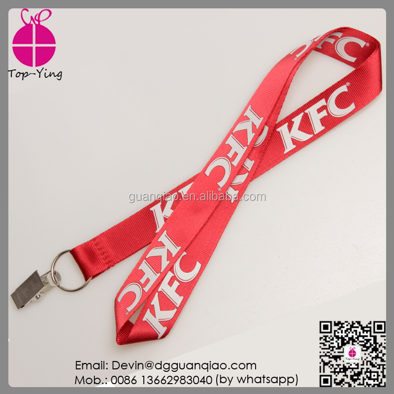 No minimum order custom silkscreen printing nylon unique logo lanyard with Authentication