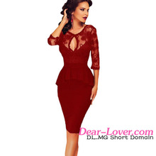 Dear Lover 2016 Latest Design Ladies Office Dress Casual Style Embroidery Scarlet Peplum Dress