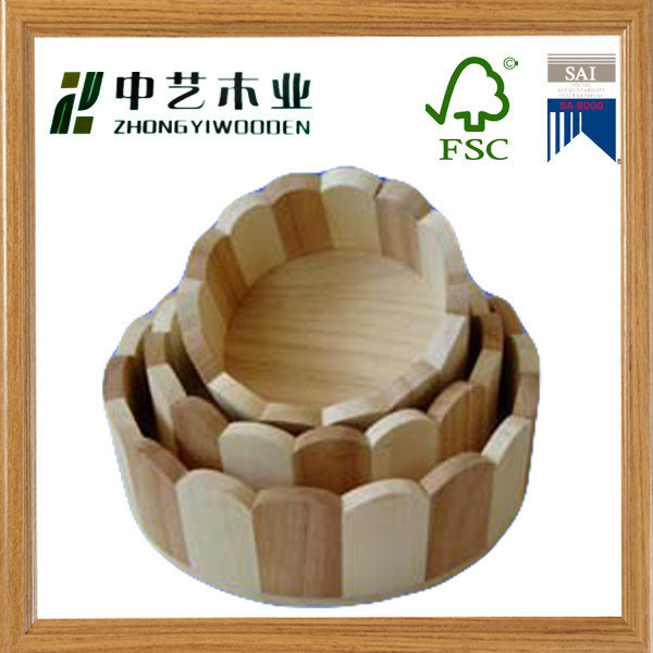 FSC&SA8000 approved wood crafts top grade pine mosaic structure wood tray serving tray fruit tray