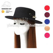 Spring new design hot sale fashion ladies' wool felt fedora hat for wholesale