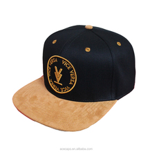 New Design High Black Cotton Crown Suede Brim Embroidery 3D Patch Adjustable Snapback Hats