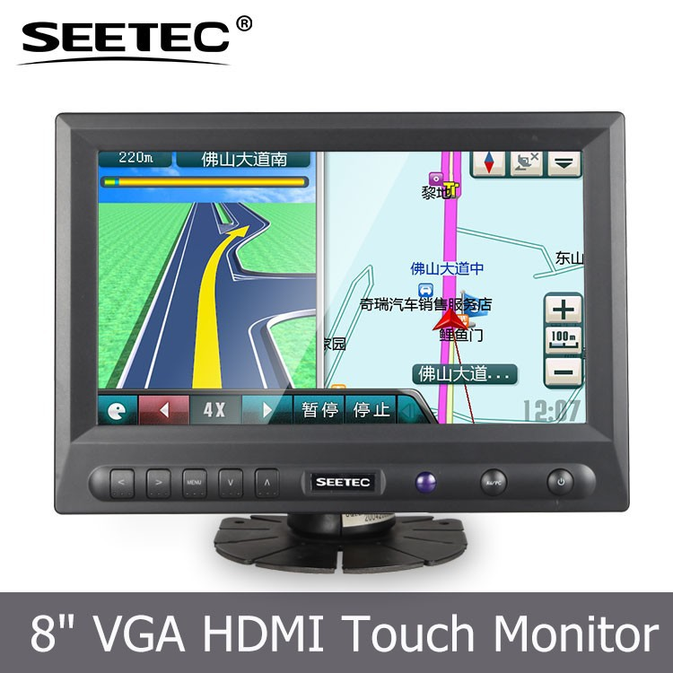 "8"" multi-touch monitor tft color mini led 12v dc lcd loop video advertising display"