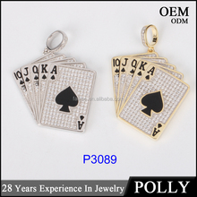 925 hip hop pendant jewelry 14K gold plated poker pendant 925 silver charm