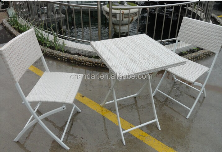 iron chair with flat wicker weaving iron table