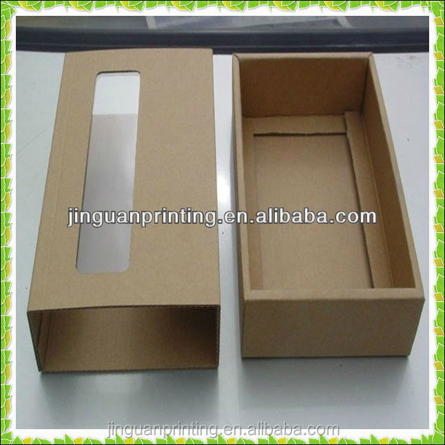 Customized luxury brown kraft paper shoes packaging box with PVC window