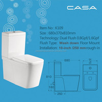 Ceramic porcelain Skirted water closet wash down square flush toilets