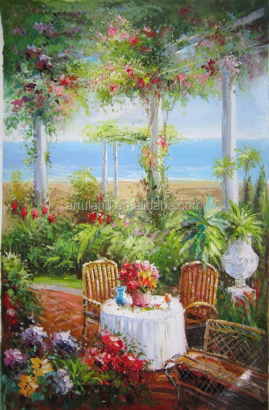 Garden Beautiful Landscape Oil Paint,modern european art garden paintings romance Home Wall art Decoration