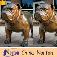 bulldog statue garden cast animal brass statue NTBA-D074S