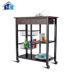 Stainless Steel Wooden Kitchen Trolley With Wine Rack Design