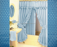 China supplier lace purfle double swag shower curtain with valance
