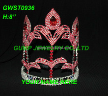 8 inch height red custom fleur de lis pageant crown