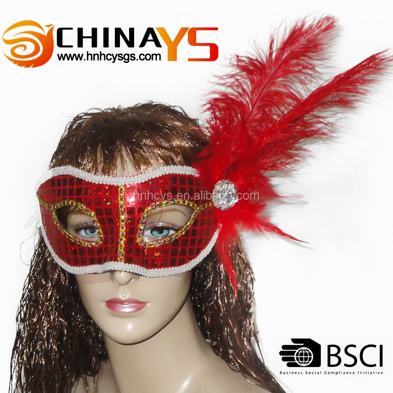Hot selling red fashionable charming Halloween feather masks for party on promotion YS 5507
