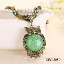 Pendant Antique Bronze Green Eye Owl Retro Beads Necklace