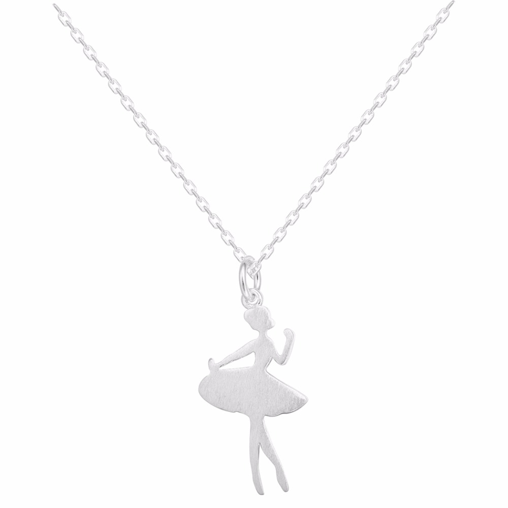 Sterling Silver Dance Girl Necklaces Jewelry Necklace Ballet Charm Chocker Statement Necklace For Women Kolye Collares