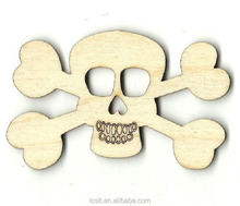 wholesale laser cut wooden skull carving for halloween decoration