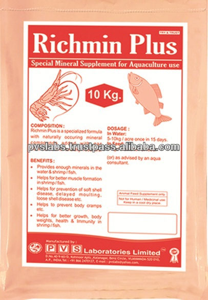 Mineral feed additives for fish and shrimp