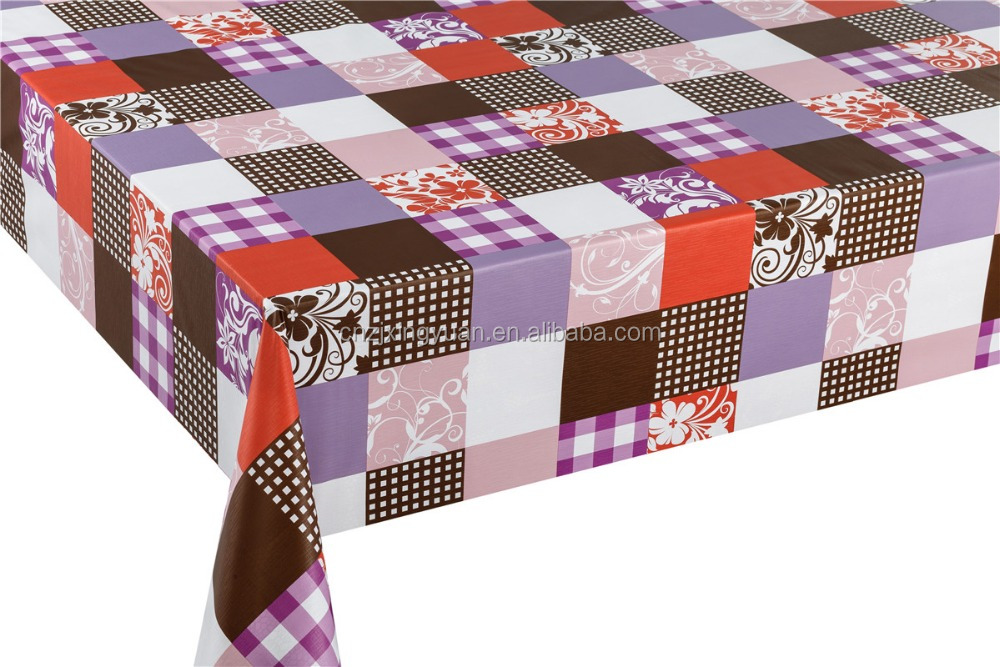 wholesale plastic table cloth with non-woven backing