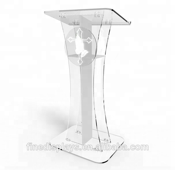 FixtureDisplays Podium Clear Ghost Acrylic w / white Cross With pray hand