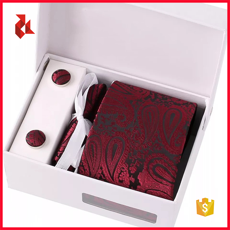 Hot Sale Mens Skinny Necktie Set Pocket Square Box Packaging