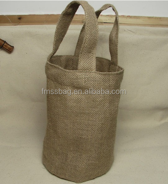 Promotional Cheap Natural Burlap Wine Package Tote Bag Wholesale