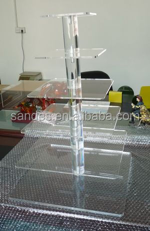 Transparent Cheap 6 Tiers Square Decorative Plastic Cupcake Display Stand for Wedding Acrylic Cupcake Display Stand