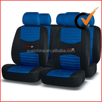 Racing car seat cover full set black/blue
