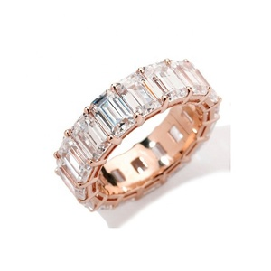Fashion 925 Sterling Silver Jewelry,Rose Gold Plated Silver 925 Emerald-Cut Eternity Ring