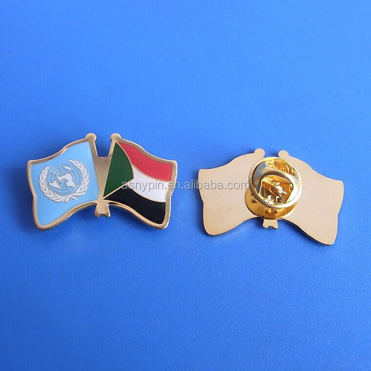United Nations and Sudan flag pins metal brass