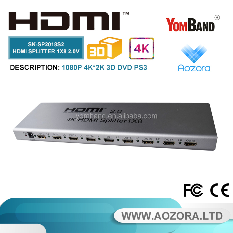 SK-SP2018S2 2.0v 1x8 hdmi splitter 8 ports support Ultra HD 2k/4k 3D,1080P, EDID, tv hdmi