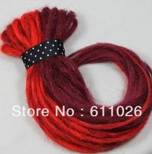 "factory cheap price top quality 20"" fold red color synthetic dreadlock hair extension can bun it up 100gram/bag"