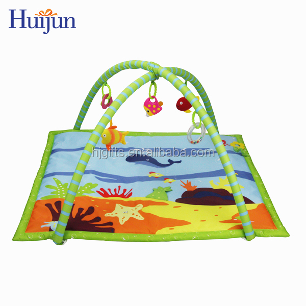 Creative customized hang fish toys crawling softextile baby play mat