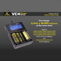 LCD 4 slots fast charge high definition digicharger Ni-Mh Li-ion XTAR VC4 18650 Battery Charger