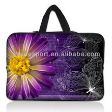 Beautiful flower design Neoprene Laptop Sleeves/bag with hidden Handle(factory)