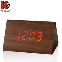 Triangle wooden clock red led light mechanism for clock