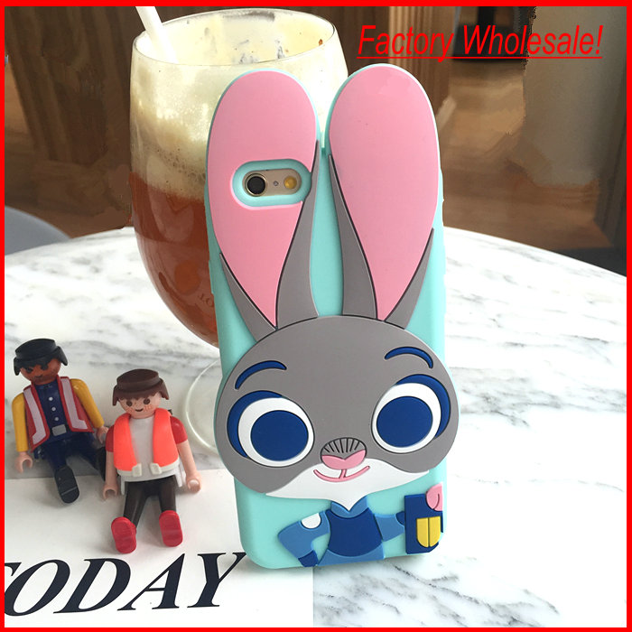3D Anime Cartoon Character Rabbit Judy / Fox Nick Soft Silicone Mobile Phone Case Cover,50pcs/lot free shipping